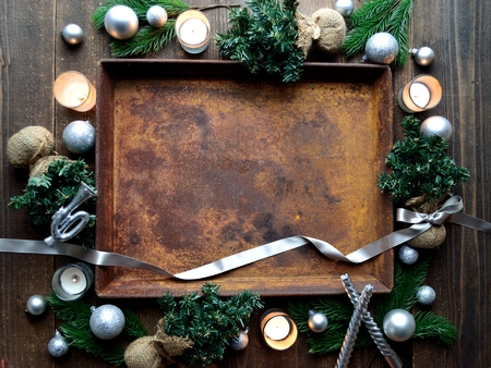 Silver Christmas decorations with rusted tray