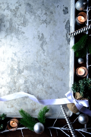 White Christmas decorations with silver tray Stock Photo - 90613959