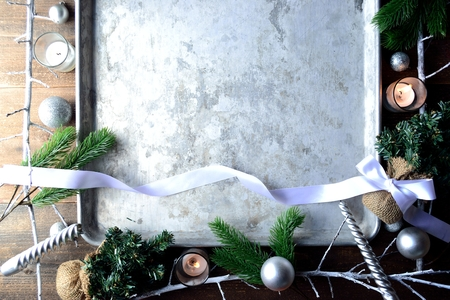 White Christmas decorations with silver tray