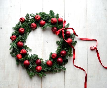 Apples Christmas wreath Stock Photo