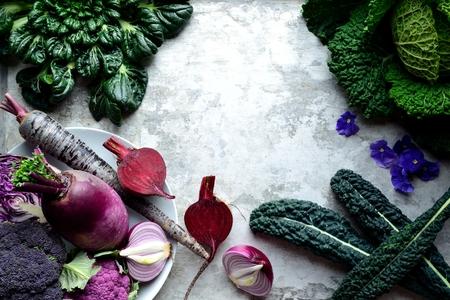 Purple vegetables with cavolo nero