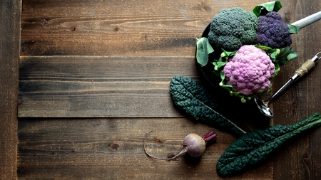 Purple cauliflower with cavolo nero