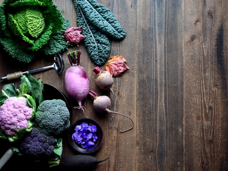 Purple cauliflower and green vegetables
