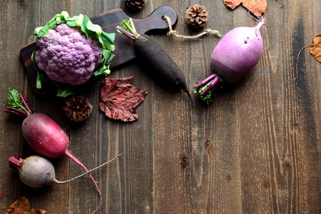 Purple cauliflower and root vegetables