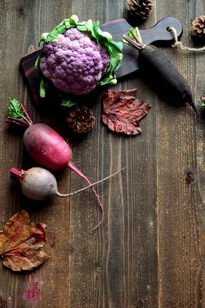 Purple cauliflower and root vegetables