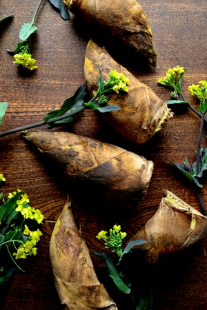 Bamboo shoots with rape blossoms