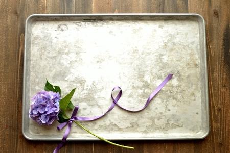 Purple hydrangea on a silver tray