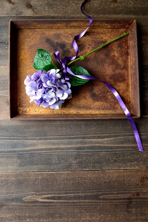 Purple hydrangea on a rusted tray Zdjęcie Seryjne