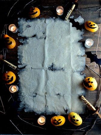 Halloween pumpkin with old tattered paper 스톡 콘텐츠 - 107382904
