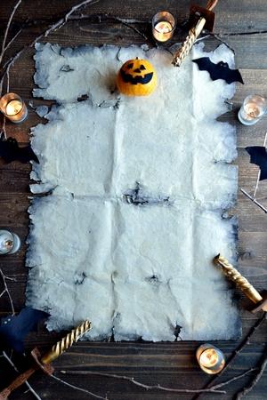 Halloween pumpkin with old tattered paper Banco de Imagens
