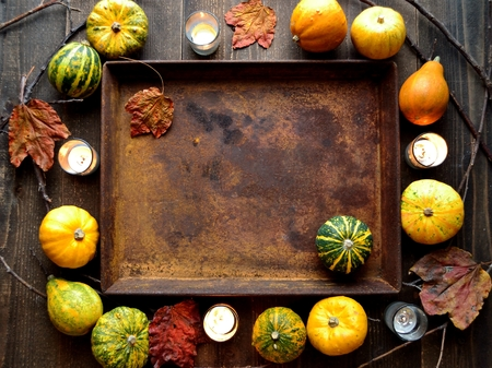 Pumpkins with rusted tray Stock Photo