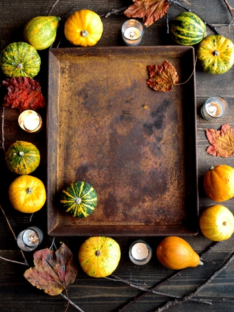 Pumpkins with rusted tray Stock Photo - 107383263