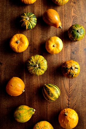 Colorful pumpkins on the wooden background Stock Photo - 112697366