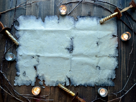 Old paper with candles