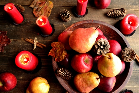 PEAR, apple and red candle