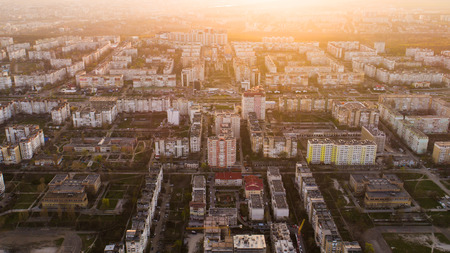 City aerial landscape in the sunset light