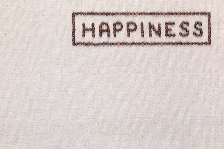 Happiness sign enclosed in a rectangle made from coffee beans on creamy linea canvas, shot from above, aligned top right. Foto de archivo - 122278405