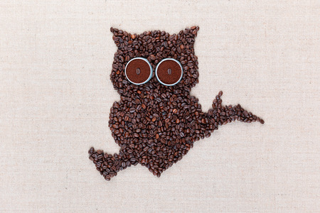 An owl siting on a branch all made from coffee beans on creamy linea canvas, shot from above, aligned in the center. Фото со стока