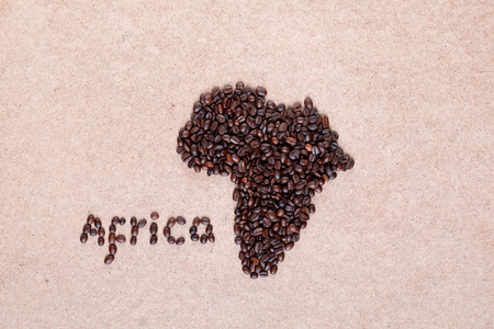 Bunch of fresh roasted coffee beans forming African continent on plywood surface, aligned in center