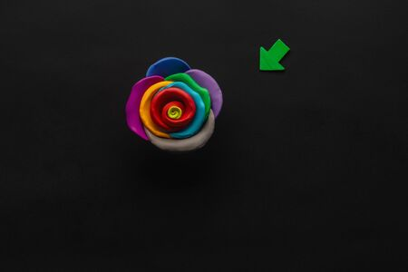 A flower made from multicolored plasticine on black background , shot from above, aligned in the center.