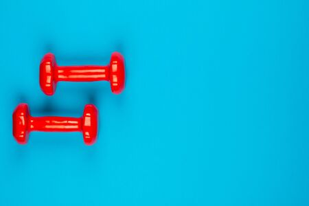 Two red dumbbells on blue background, shot from above, aligned to the left.