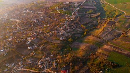 A beautiful village, shot from above.