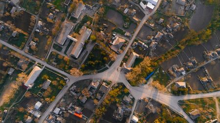 A shot of the center of a beautiful village, aerial view.