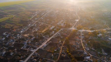 A shot of a beautiful village, aerial view.