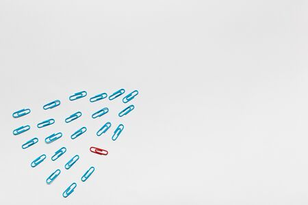 A bunch of blue paperclips aligned and one red paperclip nonaligned on white background , shot from above. Stockfoto