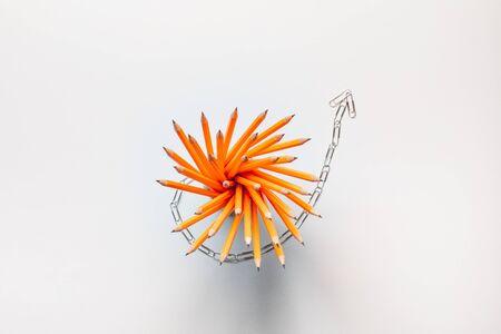 Un montón de lápices bellamente dispuestos sobre fondo blanco, tomada desde arriba.