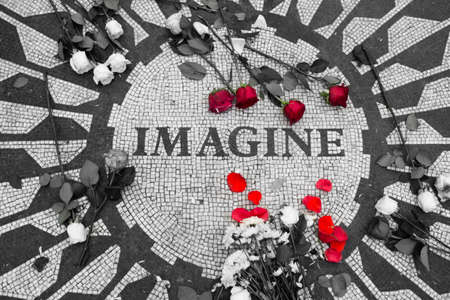 Imagine sign in Central Park, New York 写真素材