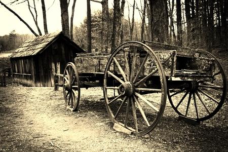 Old wooden farming wagon at Mabry Mill, Blue Ridge Parkway, Virginia