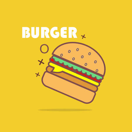 Burger icon. Flat illustration of a burger vector icon for web and print media Vettoriali