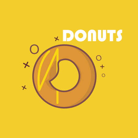 delicious donuts on a yellow background. perfect for the menu, posters etc.