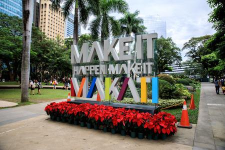 Dec 3, 2015 Signage(Make it Makati) at Ayala Triangle Park in Makati, Metro Manila