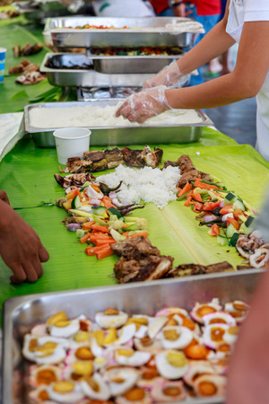 boodle: Boodle Fight, Philippine Cuisine Culture Stock Photo