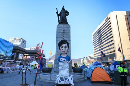 Dec 16, 2016 Gwanghwamun Plaza with the statue of the Admiral Yi Sun-sin in Seoul City, South Korea