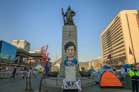 centered: Dec 16, 2016 Gwanghwamun Plaza with the statue of the Admiral Yi Sun-sin in Seoul City, South Korea