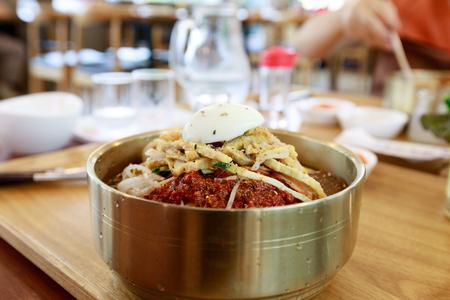 Wheat noodles, Busan Milmyeon Stock Photo