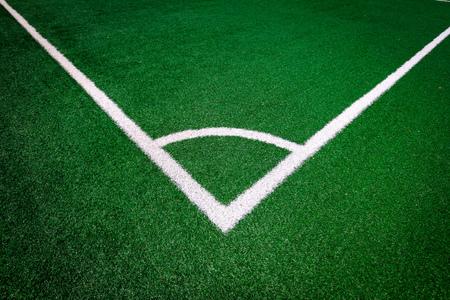 Hoek (Witte streep) op het groene voetbalveld