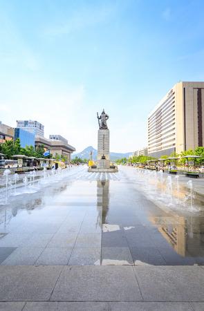 centered: Jun 19, 2017 Gwanghwamun Plaza with the statue of the Admiral Yi Sun-sin in Seoul City