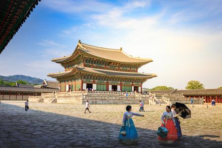 Geunjeongjeon, the Throne Hall at the Gyeongbokgung Palace, the main royal palace of the Joseon dynasty on Jun 19, 2017 in Seoul city, South Korea