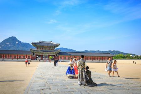 Tourists visiting Gyeongbokgung Palace on Jun 19, 2017 in Seoul city, South Korea Editorial