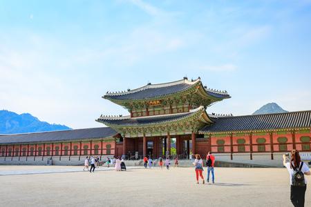 hanbok: Tourists visiting Gyeongbokgung Palace on Jun 19, 2017 in Seoul city, South Korea Editorial