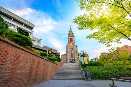 Myeongdong Cathedral on Jun 18, 2017 in Seoul city, South Korea - Landmark