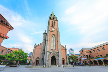 Myeongdong Cathedral on Jun 18, 2017 in Seoul city, South Korea - Landmark