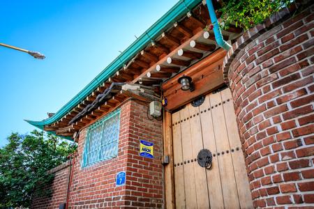 hanbok: Korean traditional house, Bukchon Hanok Village on Jun 19, 2017 in Seoul city, South Korea