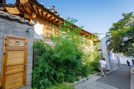 conservative: Bukchon Hanok Village on Jun19, 2017 in Seoul city, South Korea - Famous tour destination