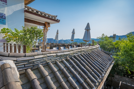 Korean traditional house, Bukchon Hanok Village on Jun 19, 2017 in Seoul city, South Korea - Tour destination