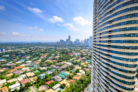 Manila skyline seen from Rockwell city on Aug 6, 2017 in the Philippines - landmark Editorial